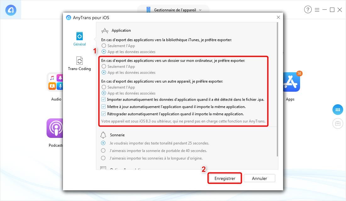 Modifier vos paramètres préférés sur le transfert d'application