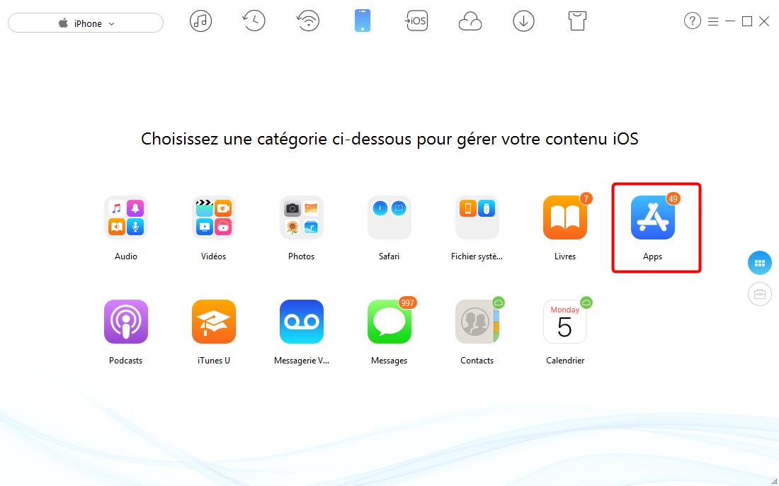 Transférer apps de l'iPhone vers un autre iPhone - étape 2