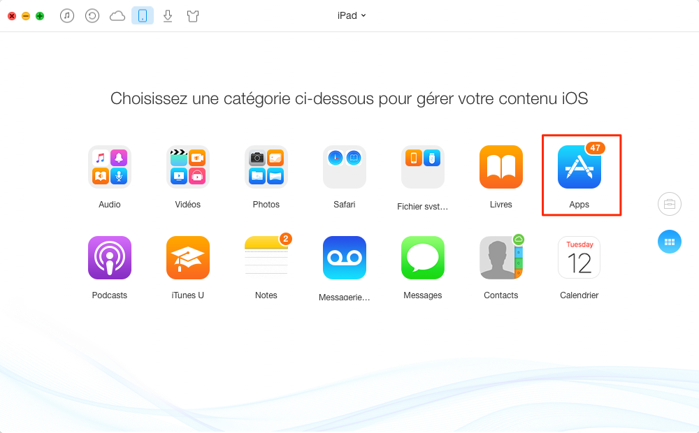 Envoyer les applications iPad vers iPhone – étape 2