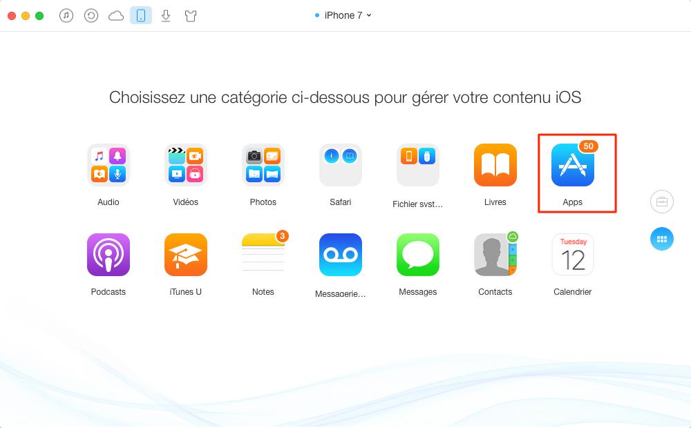 Envoyer des Apps iPhone 4/5/6/7 vers iPad – étape 2