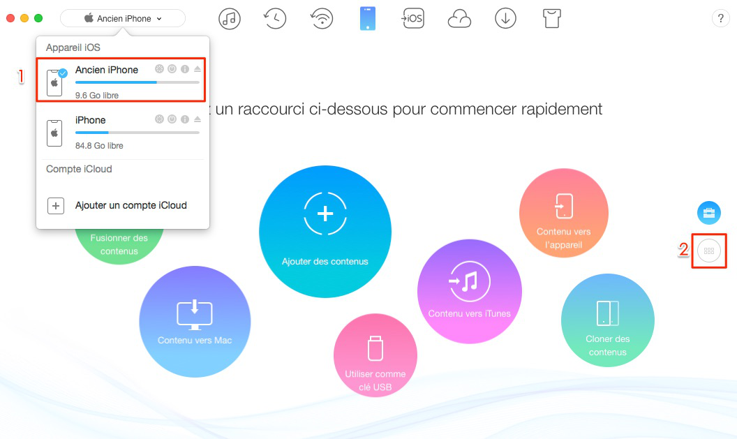 Comment transférer les applications iPhone vers iPhone X/8 - étape 1