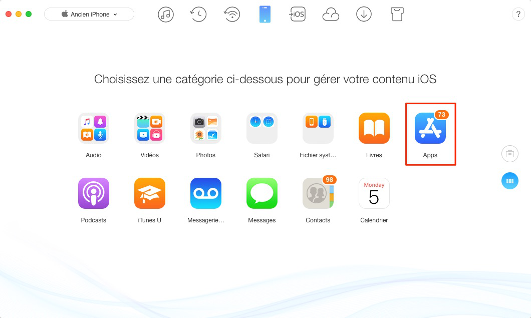 Transfert d'App iPhone vers iPhone X/8 - étape 2