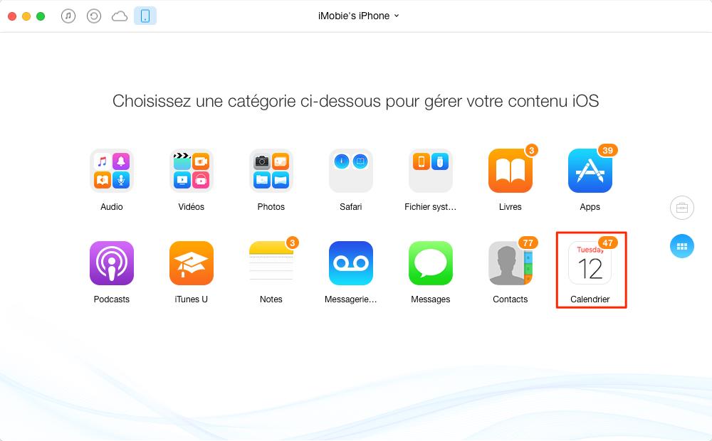 Transférer facilement les calendriers iPhone 7 vers Mac – étape 2