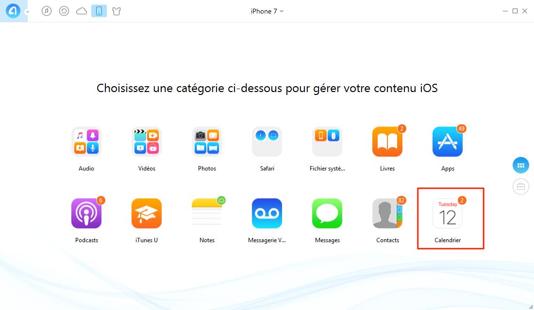 Comment transférer les calendriers iPhone 7 vers PC – étape 1