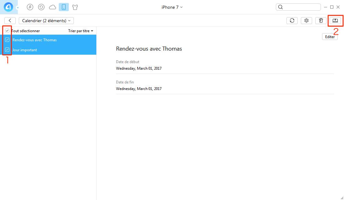 Transférer Calendrier iPhone 7 vers PC – étape 2