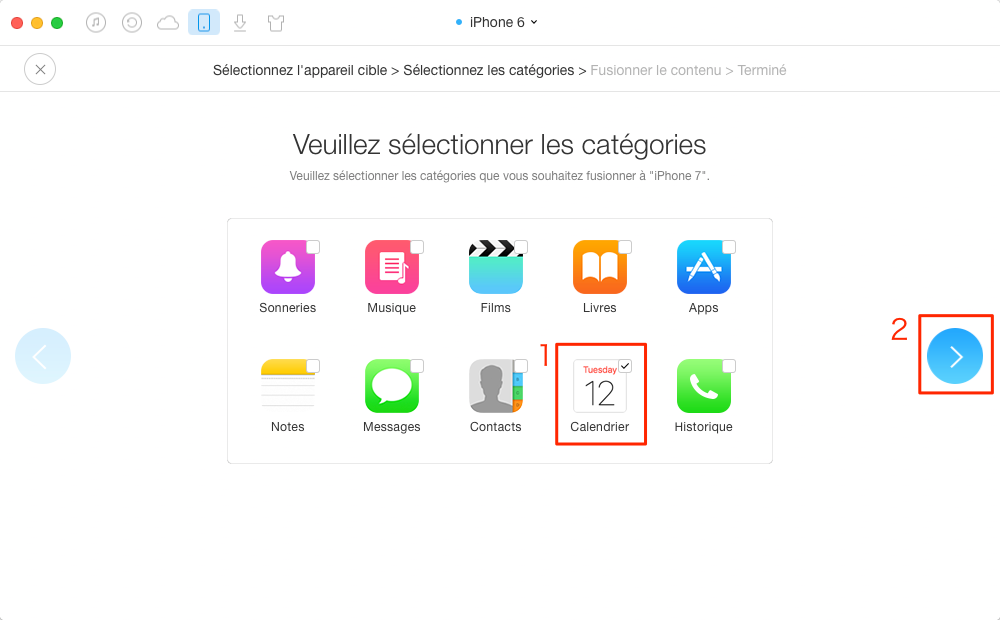 Synchroniser les calendriers iPhone 4/5/6 vers iPhone 7 – étape 3