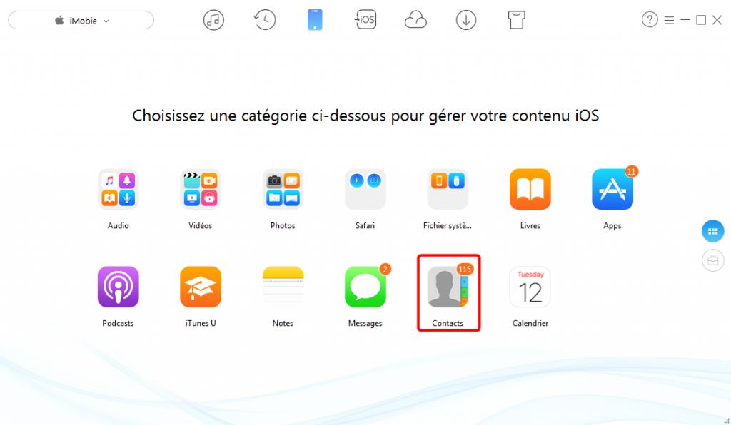 Transférer les contacts iPhone vers SIM avec AnyTrans - étape 1