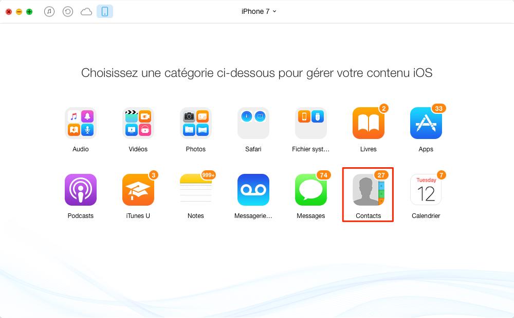 Comment r transférer les contacts de l'ancien à iPhone 7 – étape 2