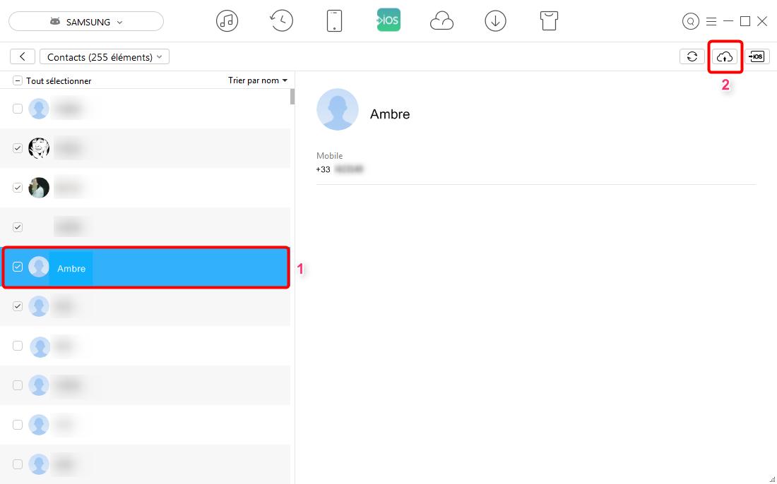 Transférer directement les contacts depuis Android vers iCloud - étape 3