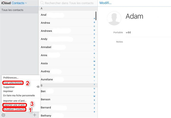 Transférer les contacts depuis iCloud vers Samsung