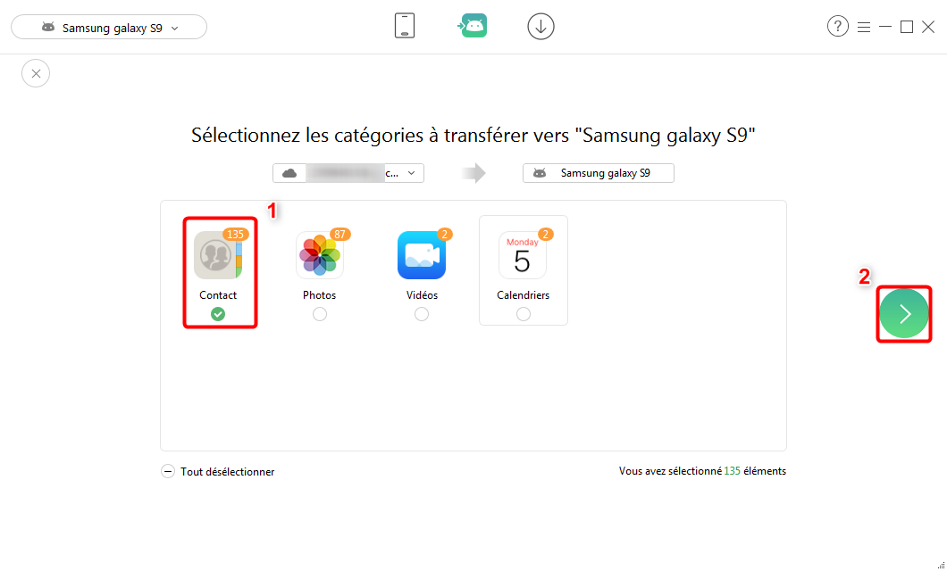 Sélectionner tous les contacts iCloud vers Samsung Galaxy