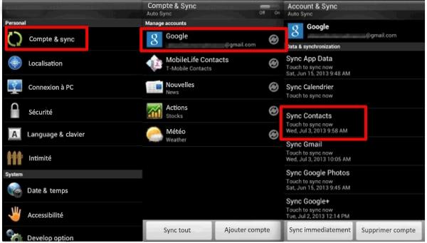 Transférer les contacts HTC vers Samsung avec un compte Google
