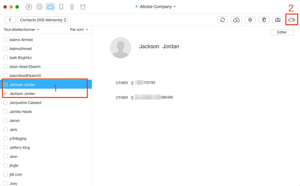 Comment copier des contacts entre deux comptes iCloud – étape 3