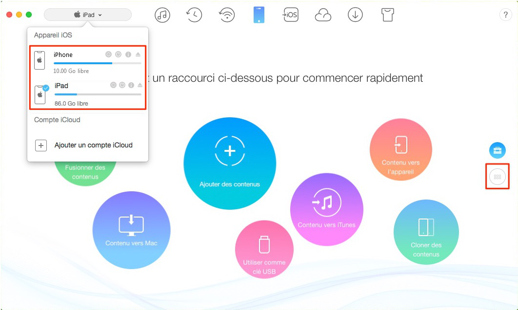 Synchroniser les contacts iPad vers iPhone – étape 1