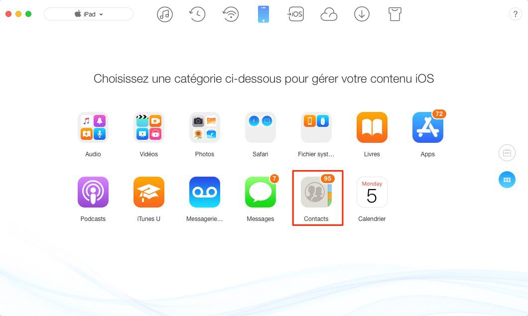Comment transférer contacts iPad vers Mac – étape 2