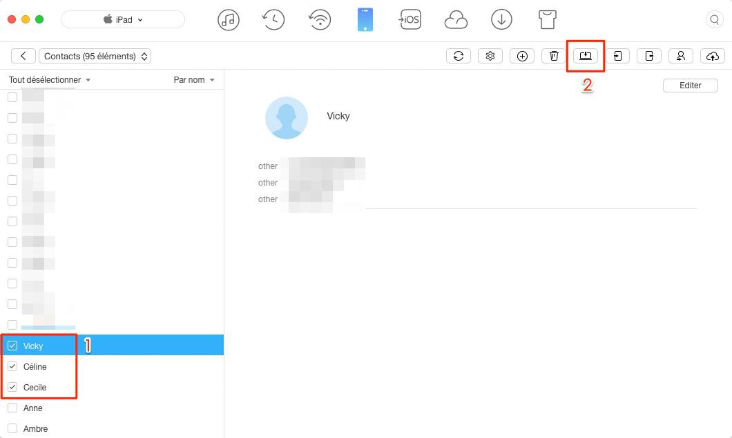 Transférer facilement les contactas iPad vers Mac - – étape 3