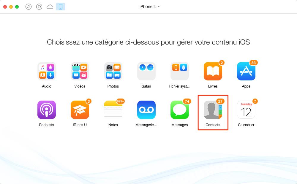 Transférer facilement les contacts entre iPhone – étape 3