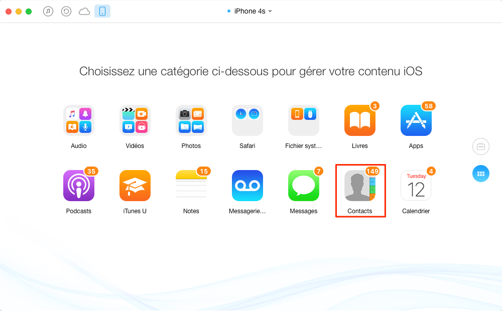 Transférer les contacts iPhone 4s vers iPhone 6 - étape 2