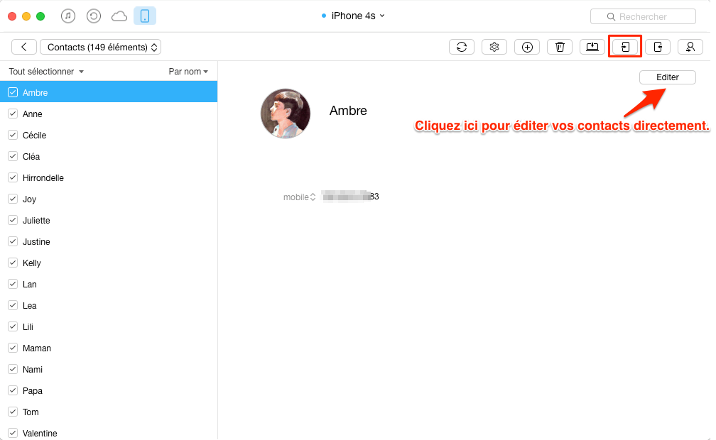 Le transfert de contacts iPhone 4s vers iPhone 6 - étape 3