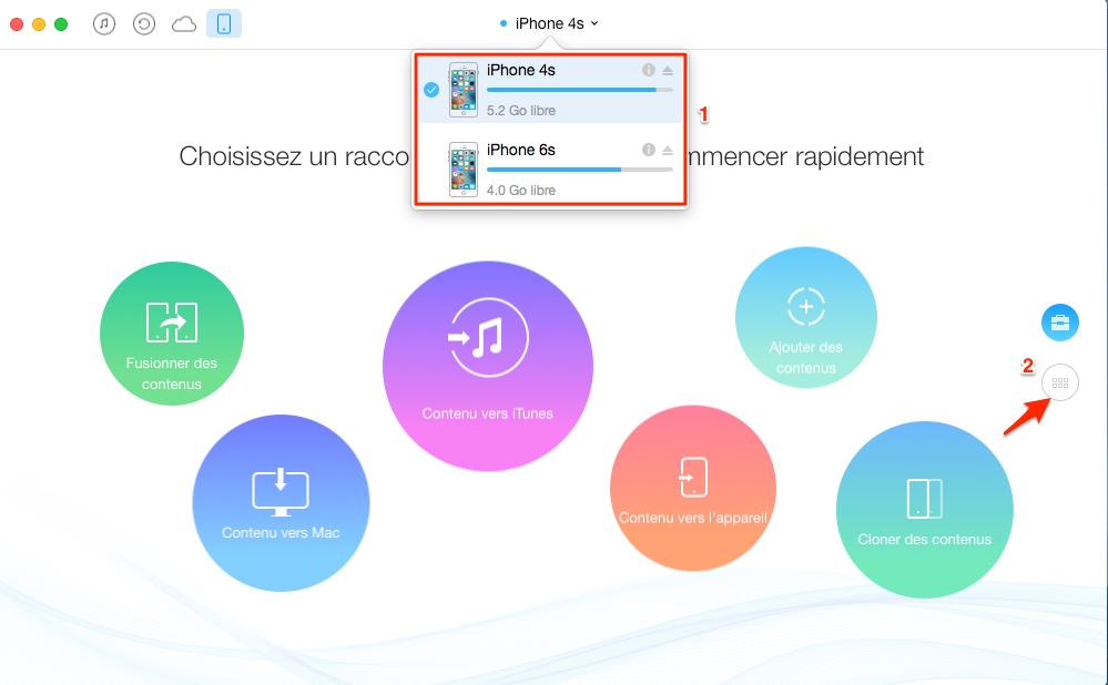 Transférer les contacts d'un iPhone 4s vers un autre directement - étape 1