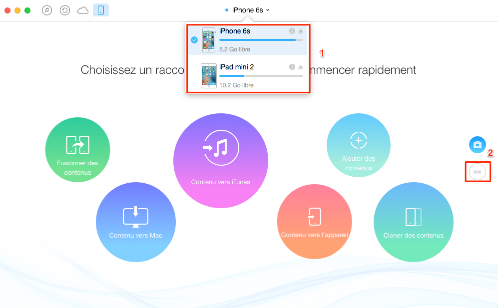 Transférer les contacts de l'iPhone 6/6s à l'iPad via AnyTrans – étape 1
