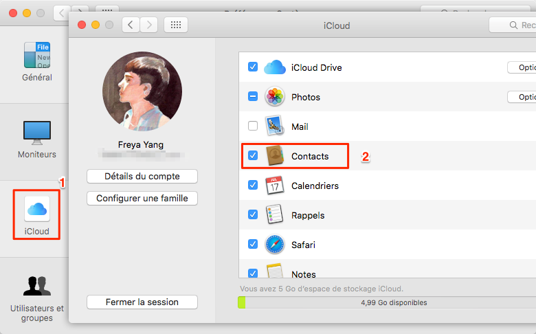 Enregistrez les contacts de l'iPhone vers Mac