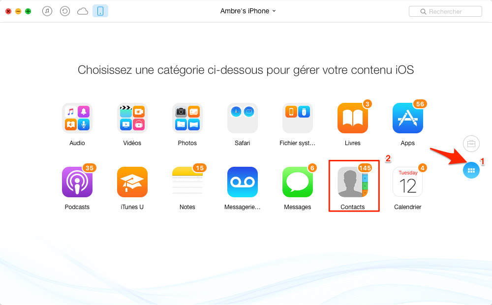 Comment transférer Contacts iPhone vres Mac avec AnyTrans – étape 1