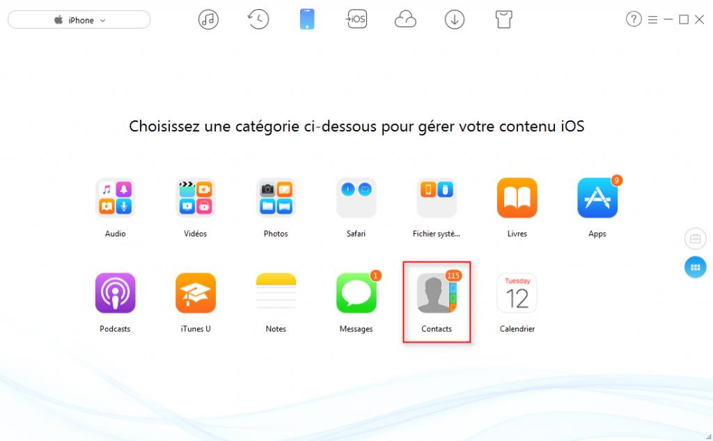 Transférer les contacts iPhone sur clé USB - étape 2