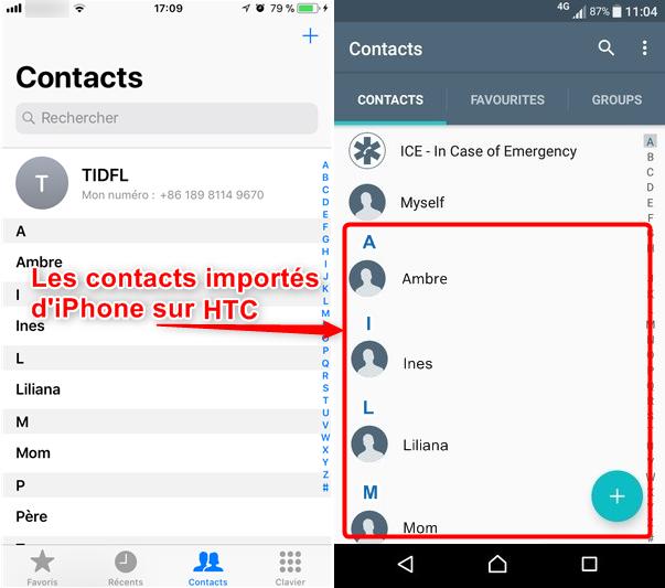 Transférer rapidement les contacts d'iPhone vers HTC - étape 4
