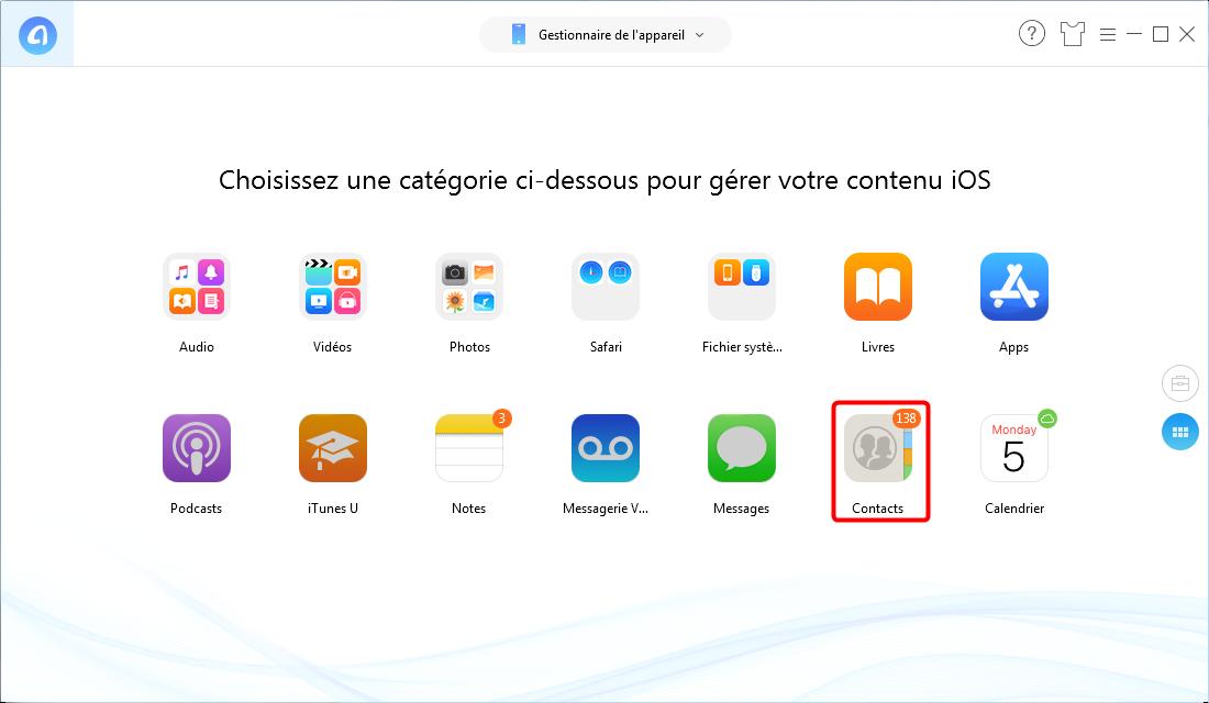 Transférer les contacts Phone sur mon iPad - étape 2