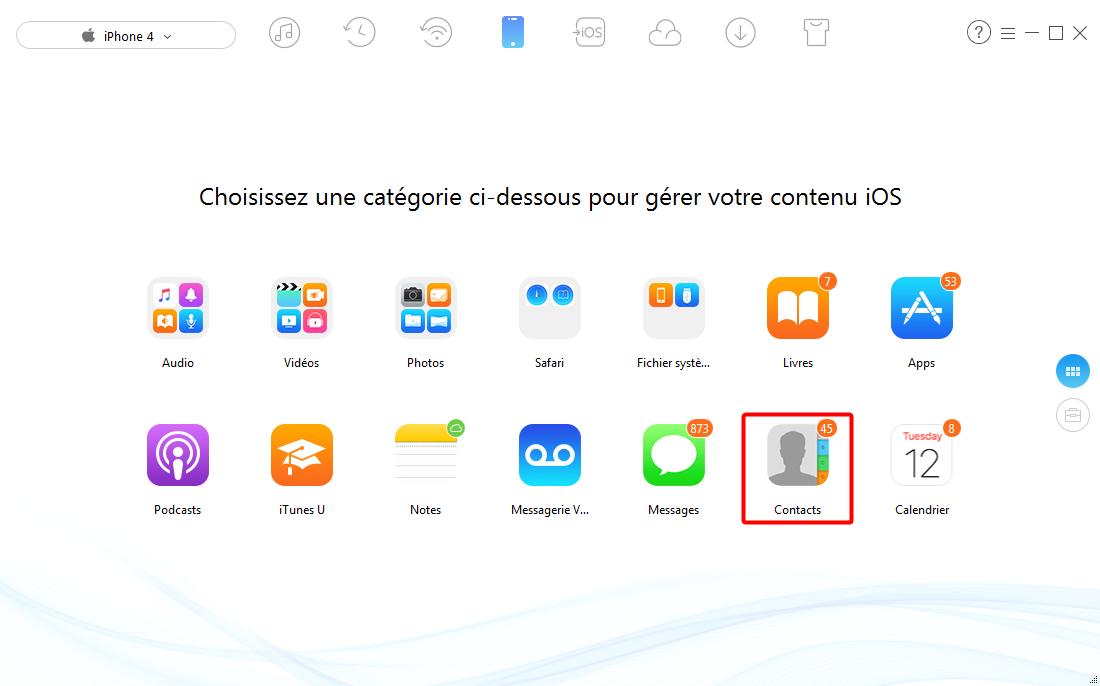 Transférer les contacts Phone vers iPad avec AnyTrans - étape 2