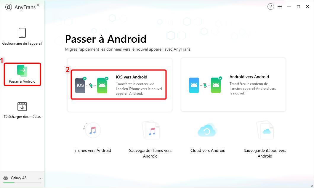 Cliquez sur le bouton Passer à Android - 2