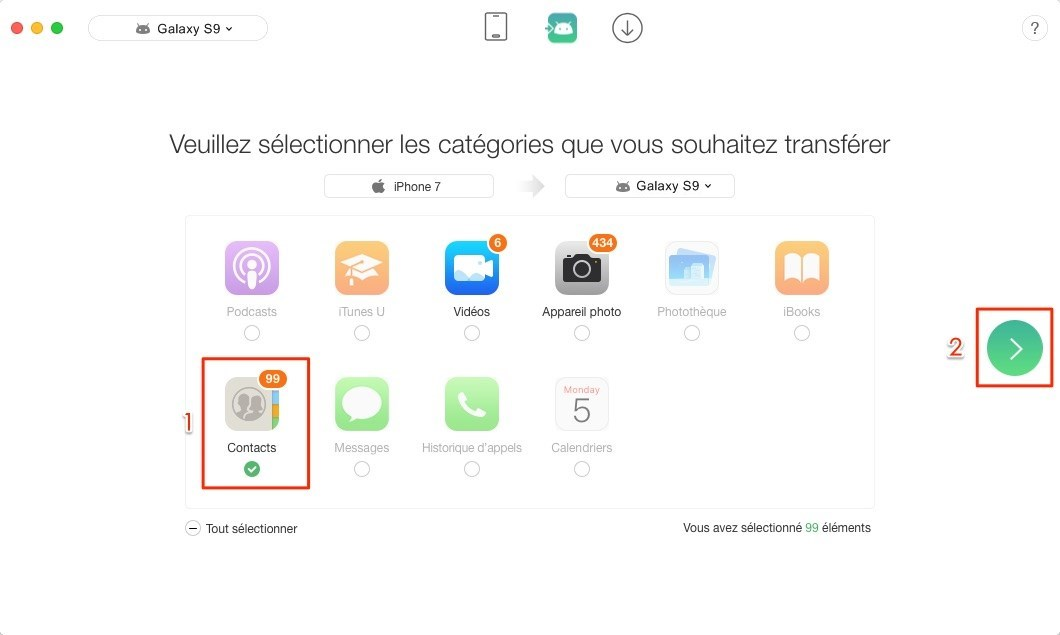 Comment transférer le contacts iPhone vers Samsung Galaxy S9 – étape 2