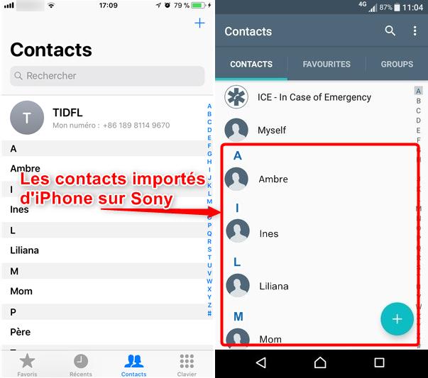 Moyen de transférer les contacts iPhone vers Sony rapidement - étape 4