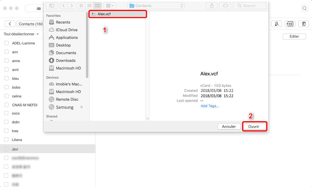 Copier des contacts depuis Mac vers Samsung rapidement - étape 4