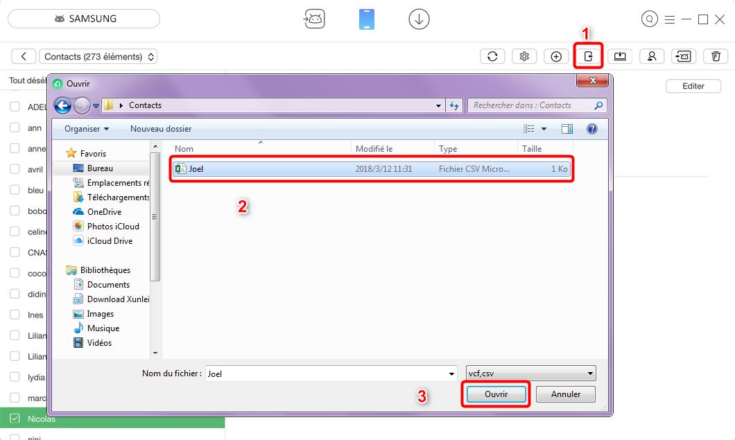 comment transf u00e9rer les contacts pc vers samsung rapidement