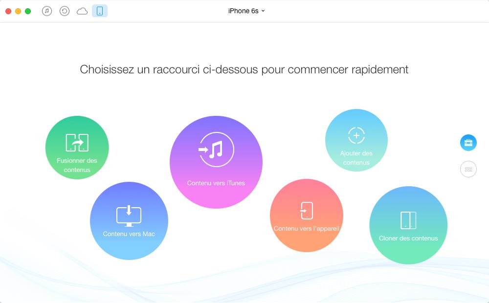 Transfert de musique iPhone 6s vers Mac - étape 1