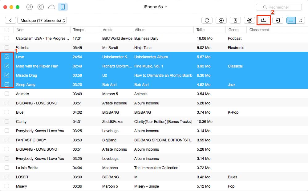 Transférer de la musique iPhone 6 vers Mac avec AnyTrans - étape 3