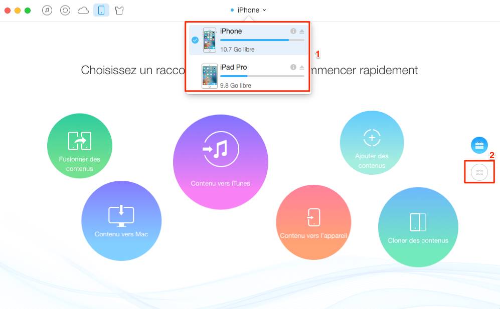 Comment copier les contacts de l'iPhone à l'iPad Pro - étape 1