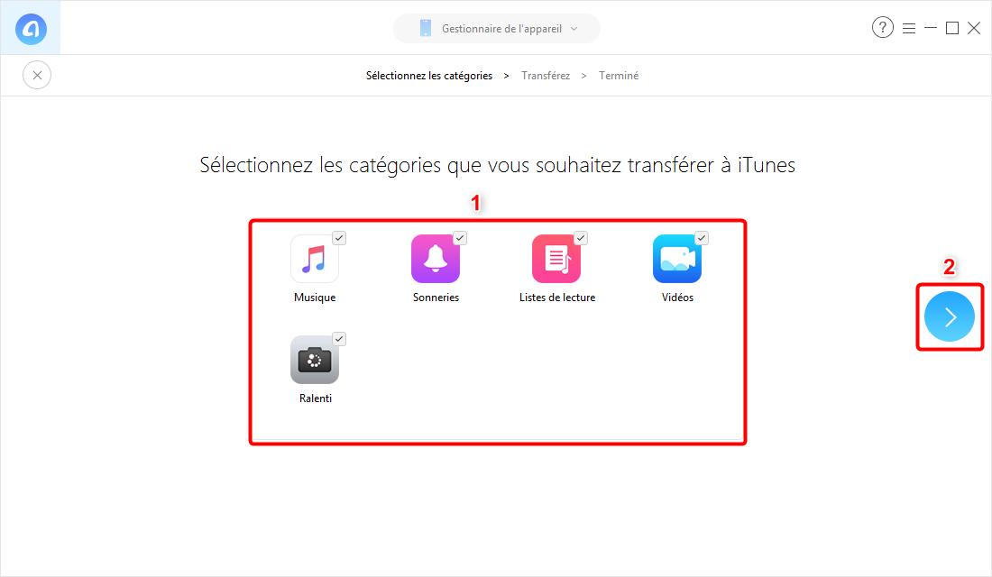 Mettre les fichiers médiatiques depuis iPhone sur iTunes - étape 2