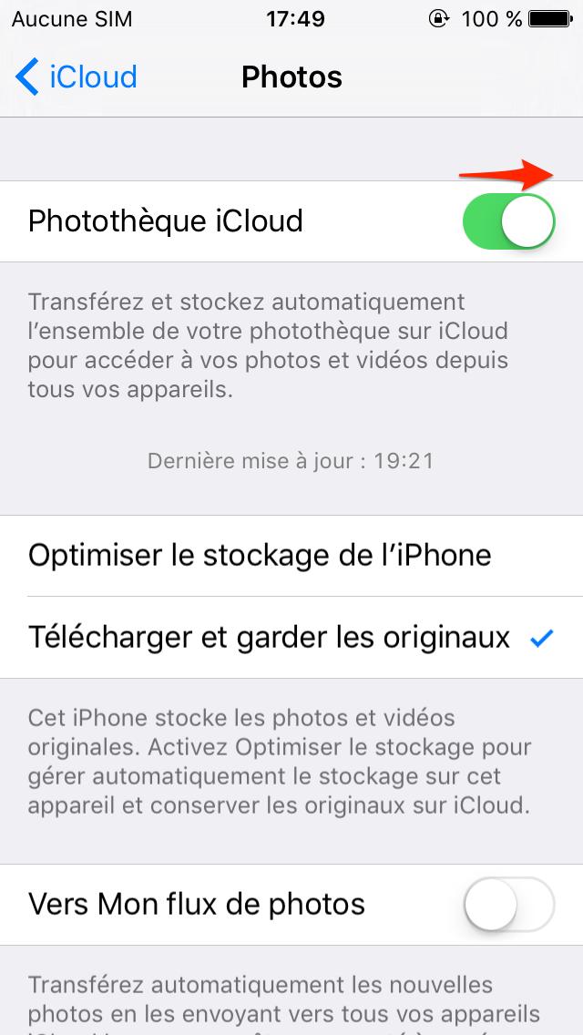 Transférer les photos d'iPhone vers iPad Pro via Photothèque iCloud