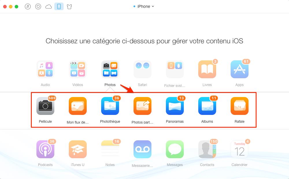 Transférer les photos iPhone vers iPad Pro avec AnyTrans – étape 2