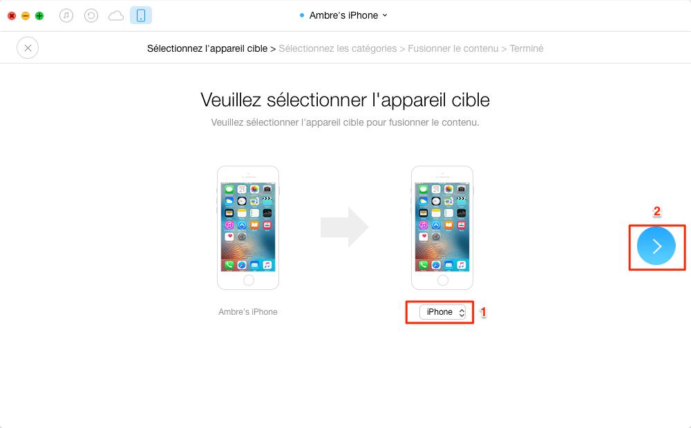 Transférer des messages texte et iMesaages iPhone vers iPhone 7 - étape 2