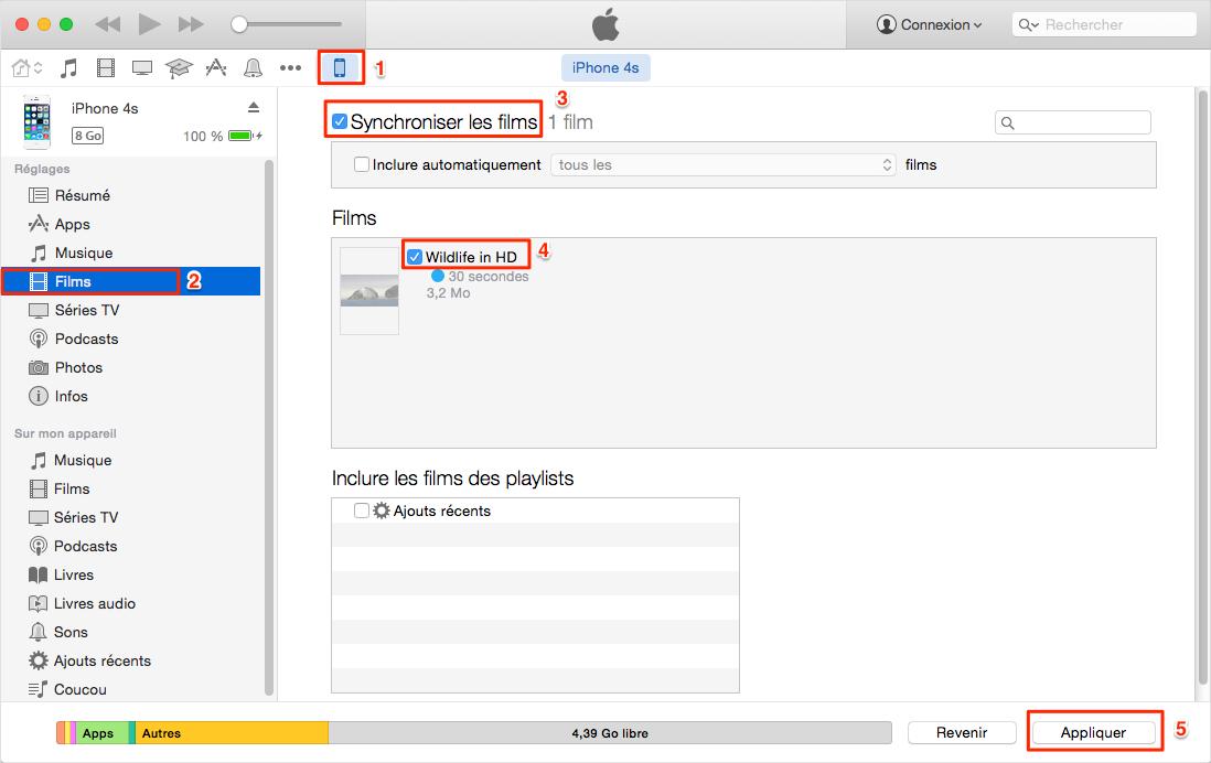 Comment transférer des vidéos iTunes vers l'iPhone par iTunes