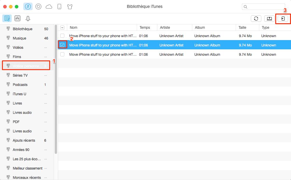 Comment transférer des vidéos d'iTunes pour iPhone - étape 3