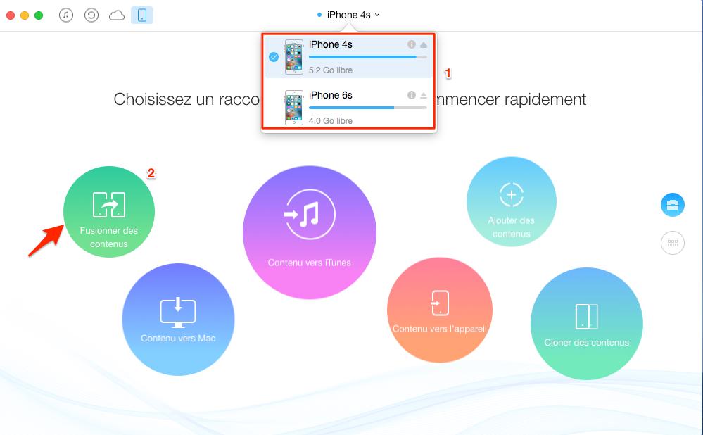 Transférer les données d'un ancien iPhone vers un autre - étape 1