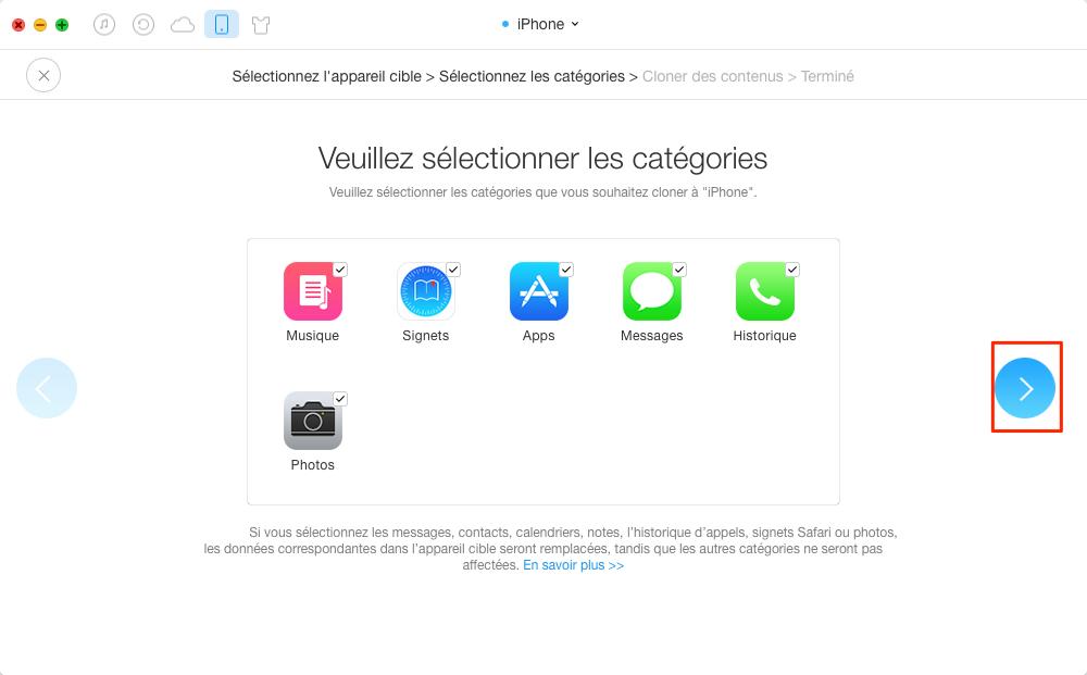 Comment transférer les données de l'iPhone vers un nouvel - étape 3