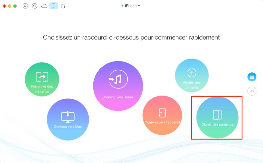 Transférer les données d'un ancien iPhone vers un nouvel - étape 1