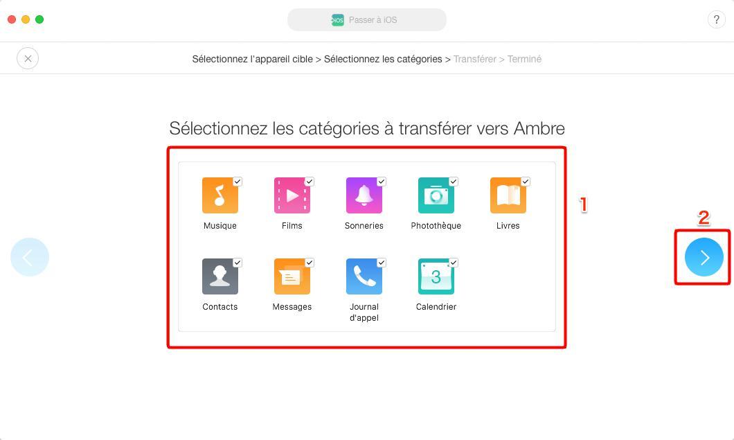 Moyen facile de transférer les données Android vers iPhone avec facilité – étape 2
