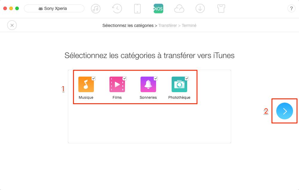 Transfert des données Android vers iTunes - étape 2